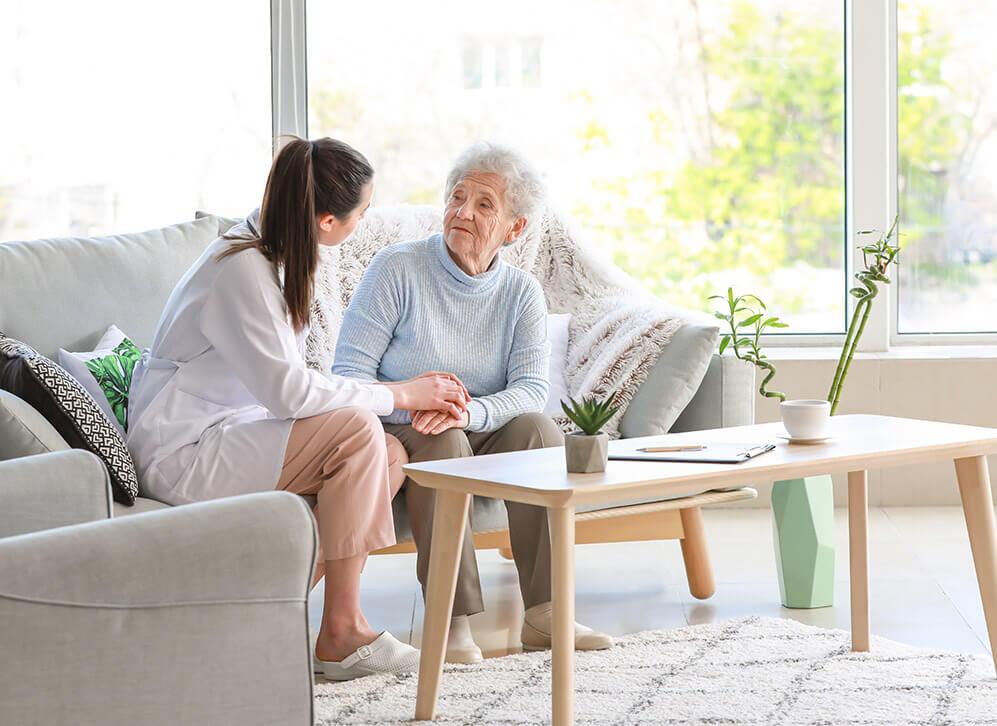Senior Woman with caregiver